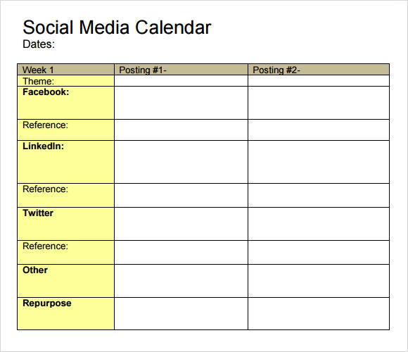 9 social media calendar templates samples examples for Social media posting calendar template