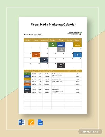 social media marketing calendar template1