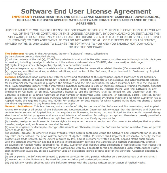 software end user license agreement template