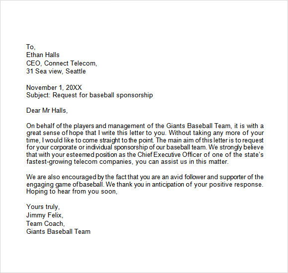 Company sports sponsorship letter examples mega dildo for Sponsorship letter template for sports team