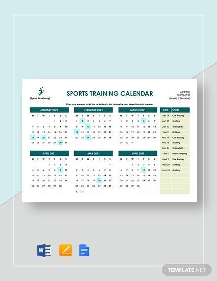 sports training calendar template