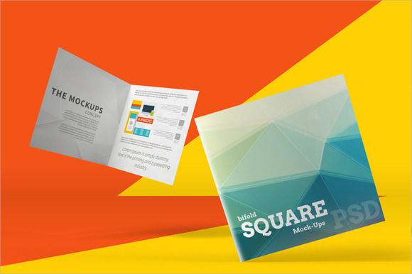 square bi fold brochure mockups