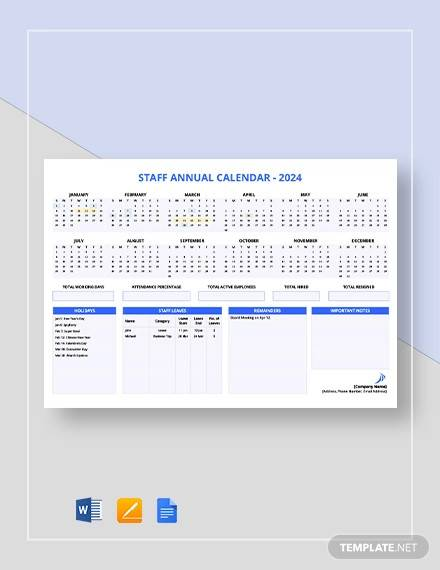 staff annual calendar template