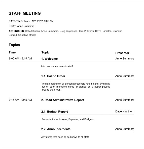 Board Meeting Agenda 11 Free Samples Examples Format – Team Meeting Agenda Sample