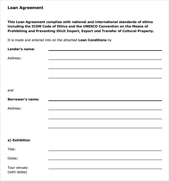 sample loan agreement 8 documents in pdf word