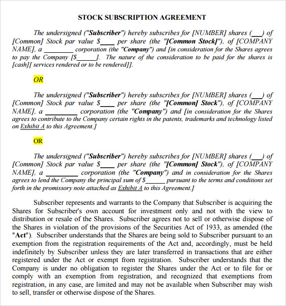 Subscription Agreement 17 Free Word Pdf Format