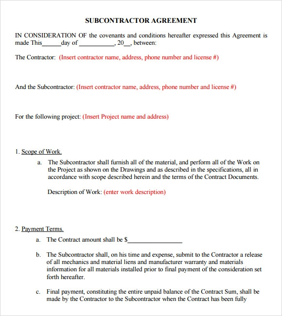 Sample Subcontractor Agreement 7 Example Format – Subcontractor Agreement Template