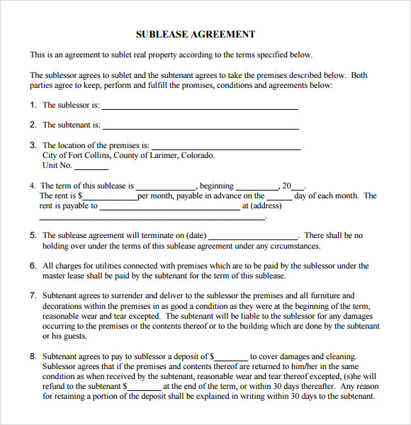 sublease agreement form1