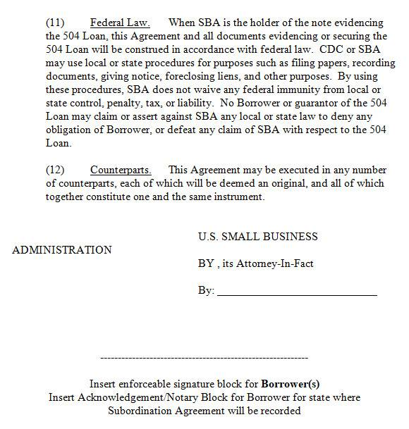 subordination agreement in ms word
