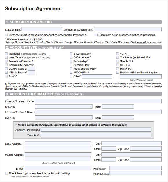 subscription agreement template pdf