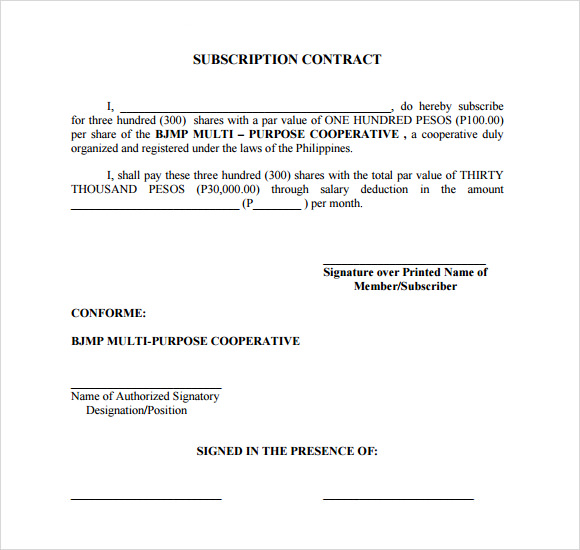 Subscription Contract Template
