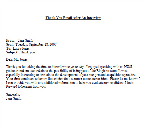 Sample Thank You Note  Free Documents In Word Pdf Job Interview