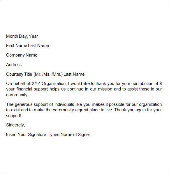 sample gift letter template