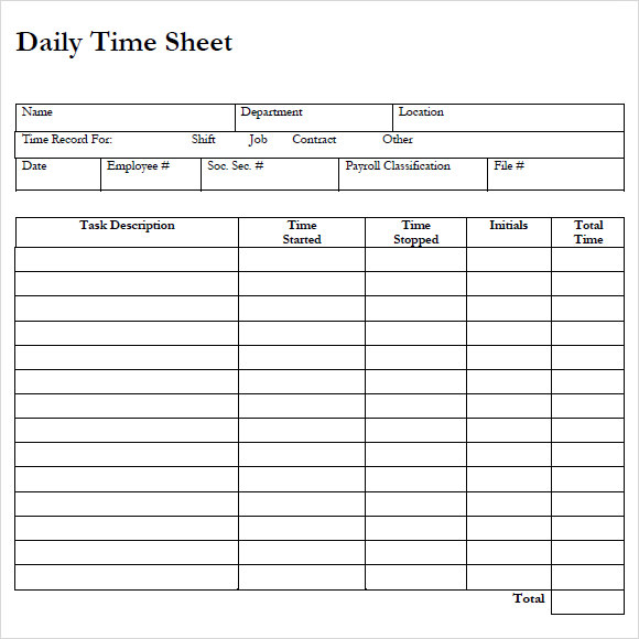 Sample Payroll Timesheet 7 Documents in PDF Word – Free Timesheet Form