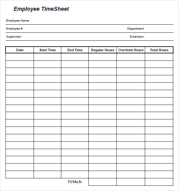 Payroll Timesheets For Employees