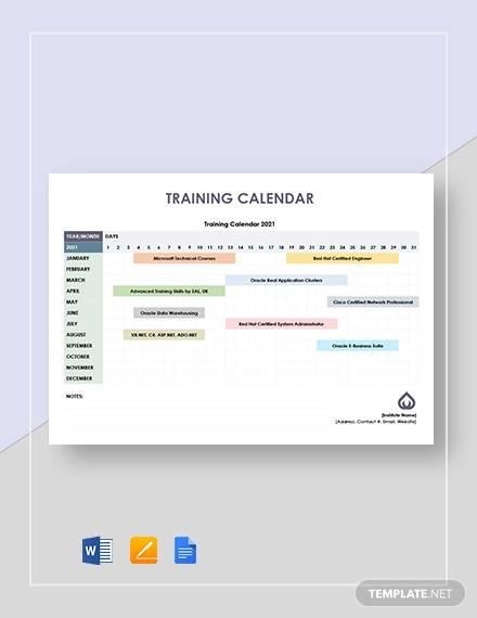 free 21  sample training calendar templates in google docs