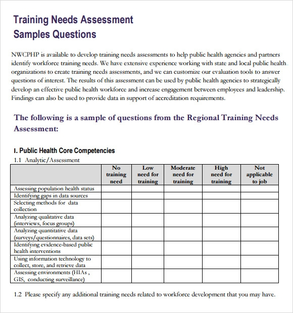 Training Needs Assessment - 10+ Free Samples , Examples ...