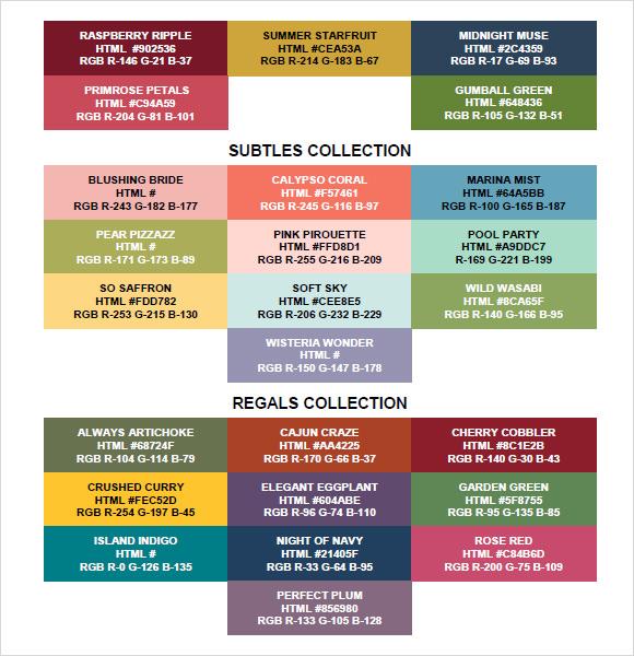 Sample Rgb Color Chart Colorful Color Schemes Color Combinations ...