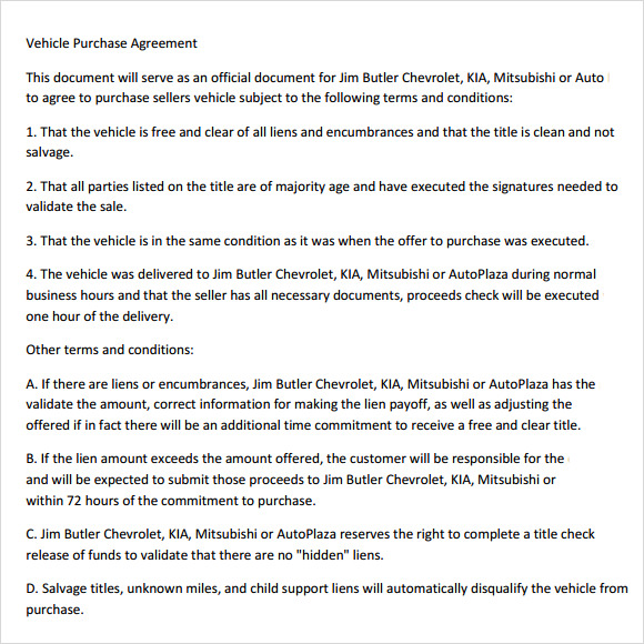 vehicle purchase agreement template1