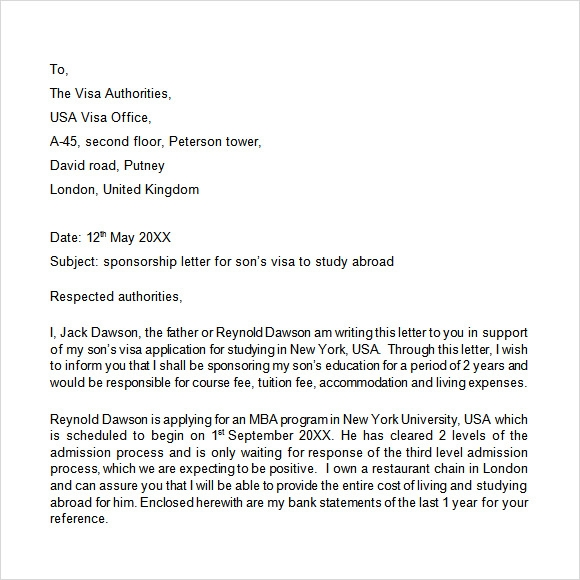sponsorship letter for visa Template – Immigration Sponsorship Letter