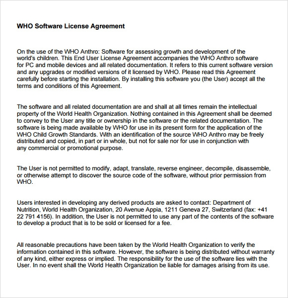who software license agreement
