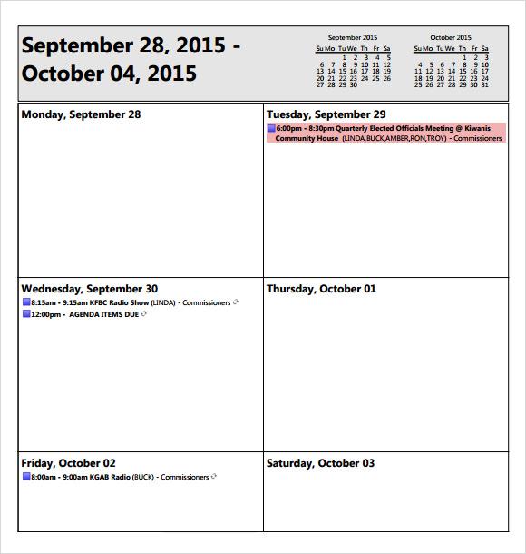 weekly meeting agenda template .