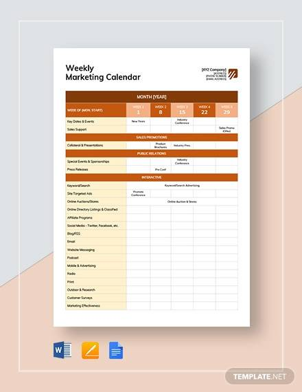 weekly marketing calendar template