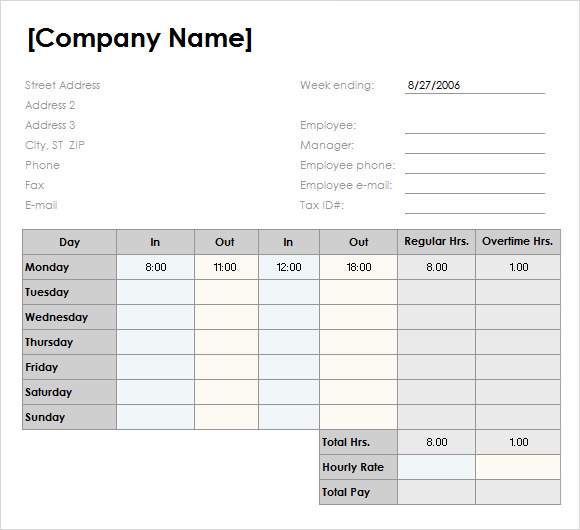 Sample Weekly Timesheet Template 9 Free Documents Download in – Free Timesheet Forms