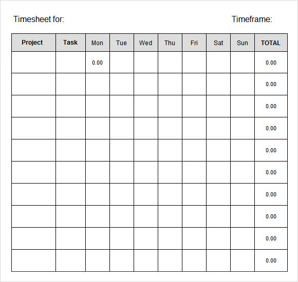 weekly time sheet excel