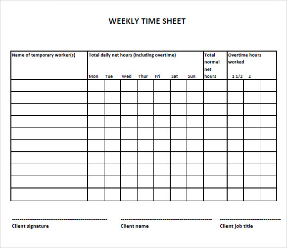 weekly timesheet template free download