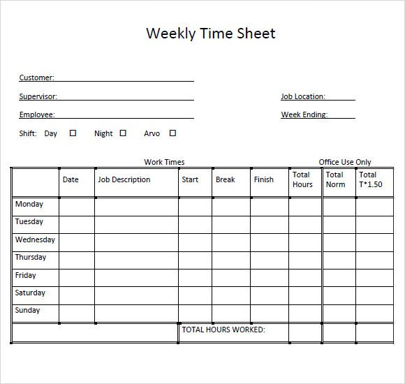 Sample Weekly Timesheet Template 9 Free Documents Download in – Time Sheet Templates