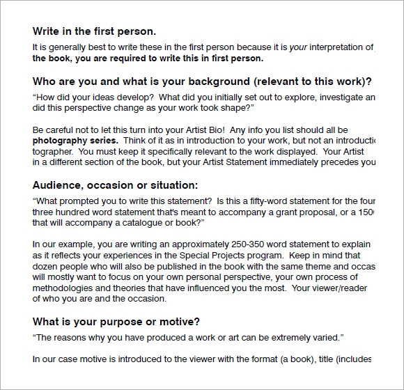 how to write an artist statement template
