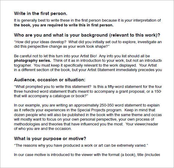 Sample Artist Statement 8 Documents in PDF – Sample Artist Statement
