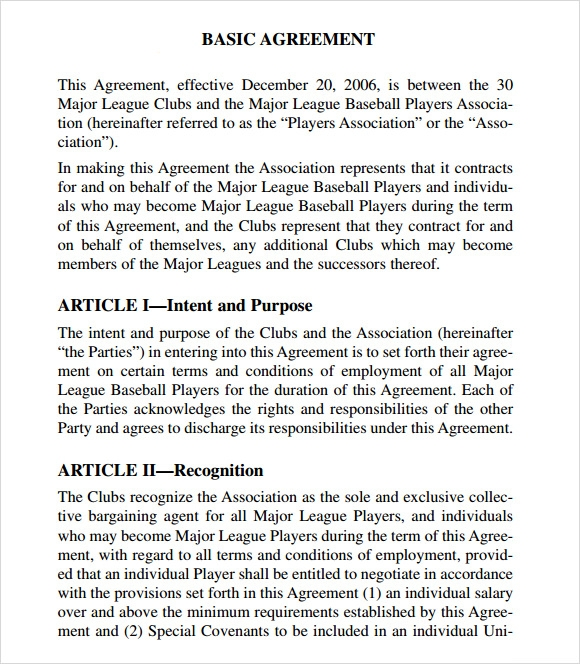 ... Collective Agreement Letter Of Understanding Collective Bargaining  Agreement 7 Free Sles Exles Format Sle Templates ...