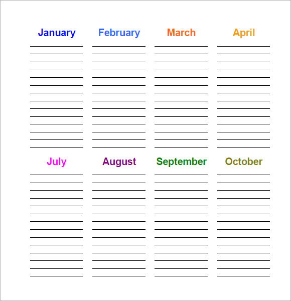 Sample Birthday Calendar Template   Documents In Pdf Word Psd