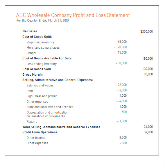 Sample Profit and Loss statement - 8+ Examples, Format