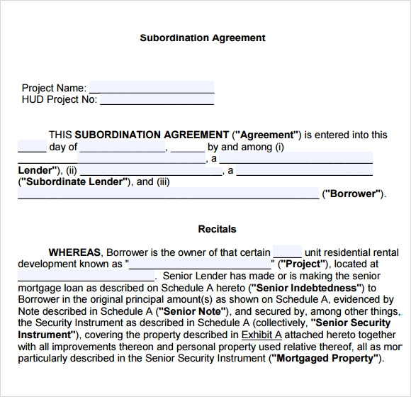 Loan Letter. Sample Subordination Agreement ...