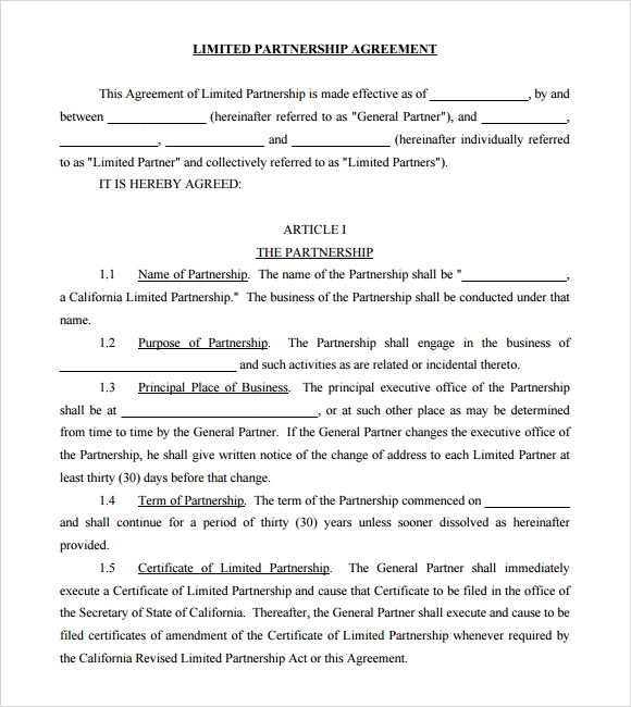 sample business partnership agreement  u2013 10  documents in