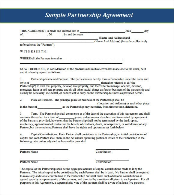 10 Sample Business Partnership Agreements Sample Templates