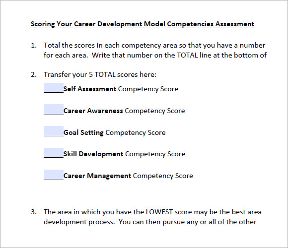 career development competencies assessment pdf