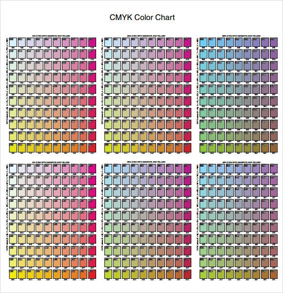 cmyk color chart printable