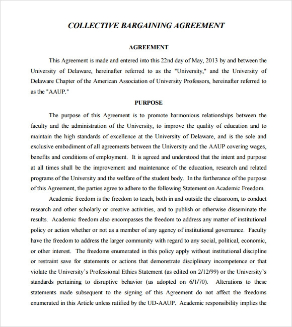 collective bargaining agreement pdf
