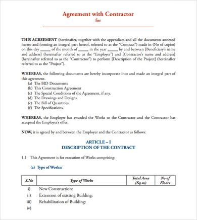Simple Contract Agreement Form Free Basic Contract Individual To
