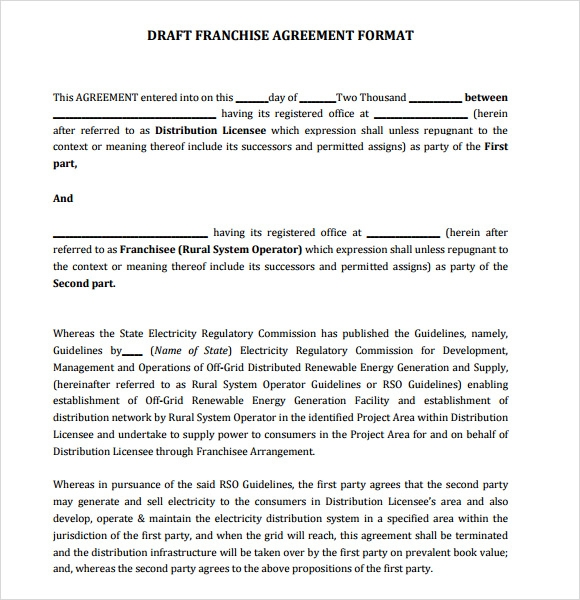 9 Sample Franchise Agreements Sample Templates
