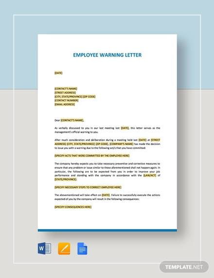 free 18  warning letters in google docs