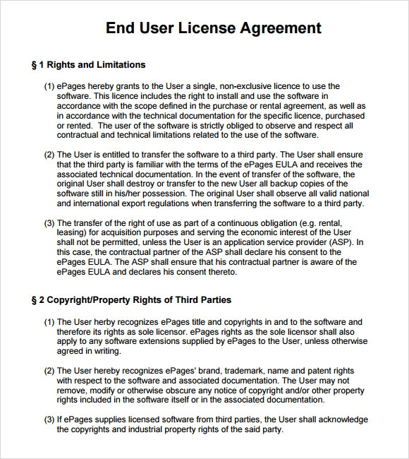 Sample End User License Agreement   Free Samples  Examples  Format