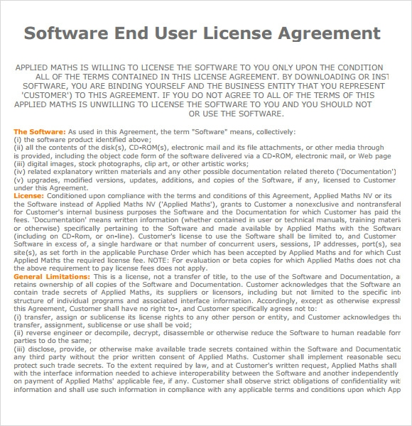 end user license agreement software