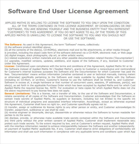 7 Sample End User License Agreements