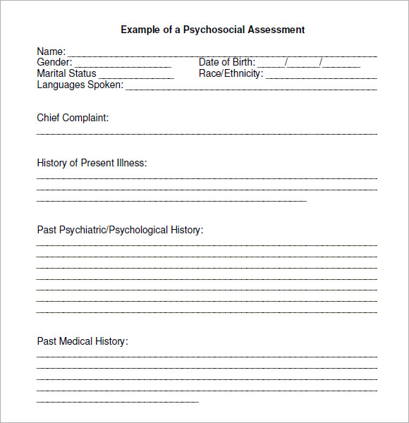 Sample Psychosocial Assessment 6 Examples Format – Sample Psychosocial Assessment