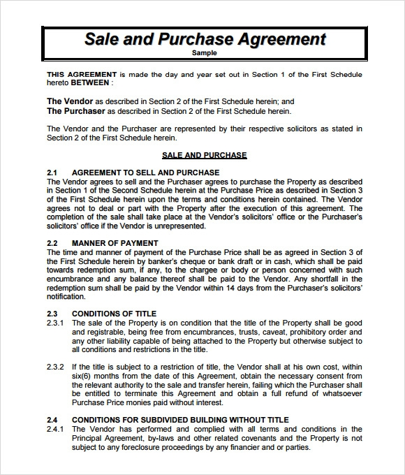 Sample Sales Agreement - 7+ Examples Format